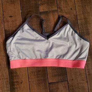 Grey and coral sports bra. Size medium